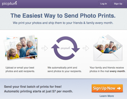 PicPlum home screen