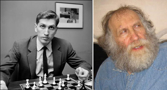 Two pictures of Bobby Fischer, left, during his prime, right late in his life.