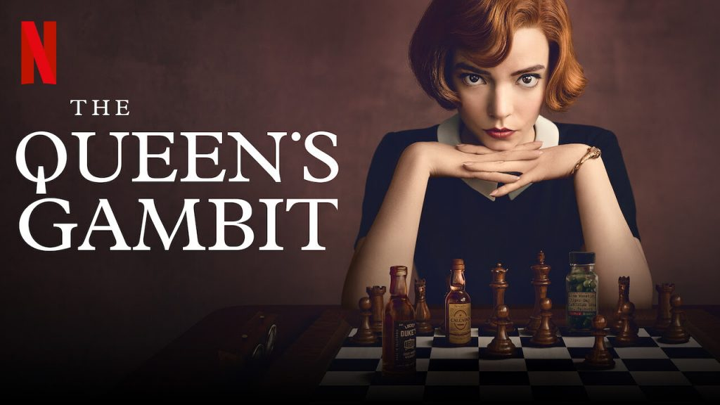"Marketing graphic from Netflix for ""The Queen's Gambit"""